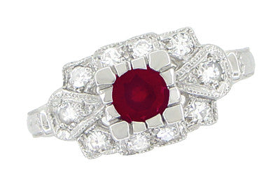 East to West Antique Ruby Engagement Ring with Diamonds