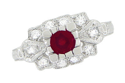 1920's Vintage Inspired Ruby and Diamond Art Deco Platinum Engagement Ring - Item: R880P - Image: 1