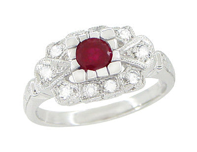 9afa4492f4183 1920's Vintage Inspired Ruby and Diamond Art Deco Platinum Engagement Ring