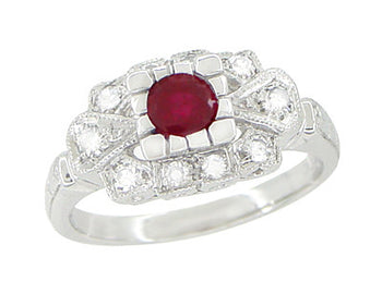 1920's Vintage Inspired Ruby and Diamond Art Deco Platinum Engagement Ring