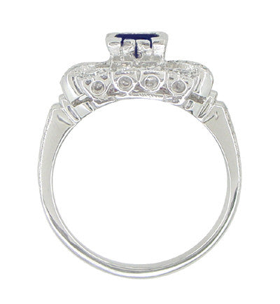 1920's Vintage Style Sapphire and Diamond Art Deco Platinum Shield Engagement Ring - Item: R880PS - Image: 3