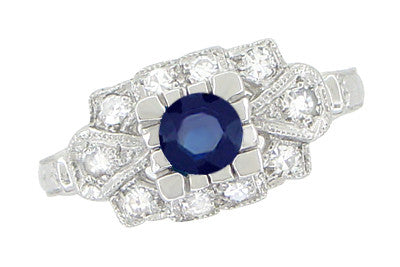 1920's Vintage Style Sapphire and Diamond Art Deco Platinum Shield Engagement Ring - Item: R880PS - Image: 1