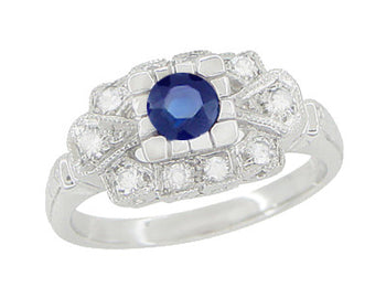 1920's Vintage Style Sapphire and Diamond Art Deco Platinum Shield Engagement Ring