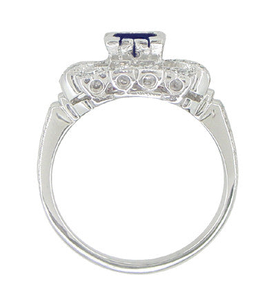 Art Deco Blue Sapphire and Diamonds Engagement Ring in 18 Karat White Gold - Item: R880S - Image: 3