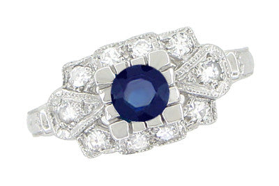 Art Deco Blue Sapphire and Diamonds Engagement Ring in 18 Karat White Gold - Item: R880S - Image: 1