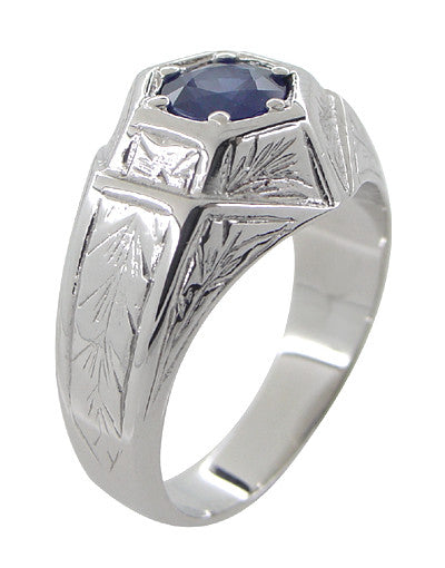 Art Deco Geometric Hexagonal Mens Blue Sapphire Ring in 14 Karat White Gold - Item: R881WS - Image: 2