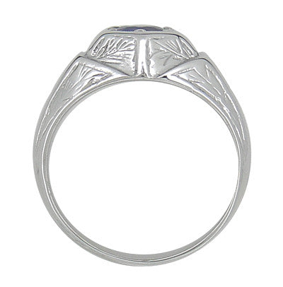 Art Deco Geometric Hexagonal Mens Blue Sapphire Ring in 14 Karat White Gold - Item: R881WS - Image: 4