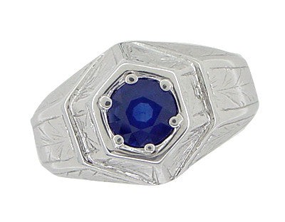 Art Deco Geometric Hexagonal Mens Blue Sapphire Ring in 14 Karat White Gold - Item: R881WS - Image: 5