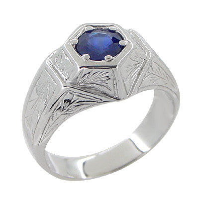 Art Deco Geometric Hexagonal Mens Blue Sapphire Ring in 14 Karat White Gold - Item: R881WS - Image: 1