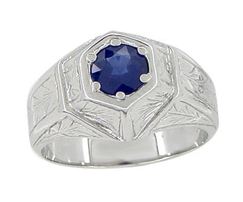 Art Deco Geometric Hexagonal Mens Blue Sapphire Ring in 14 Karat White Gold