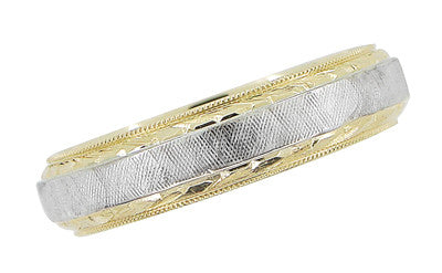 Mens Hand Engraved Mid Century Vintage Wedding Band in 14 Karat Yellow and White Gold | Ring Size 10 - Item: R884 - Image: 1