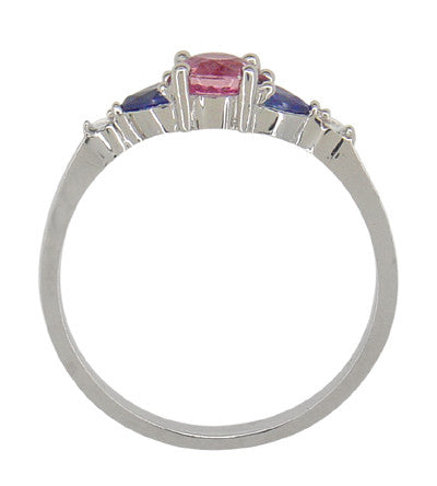 Pink and Blue Sapphire Love Ring with Diamonds in 10 Karat White Gold - Item: R888 - Image: 1