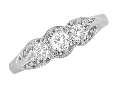"Filigree ""Three Stone"" Diamond Art Deco Ring in 14 Karat White Gold - Item: R890 - Image: 3"