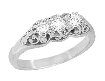 "Filigree ""Three Stone"" Diamond Art Deco Ring in 14 Karat White Gold - Item: R890 - Image: 1"