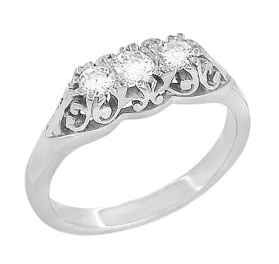 "Filigree ""Three Stone"" Diamond Art Deco Ring in 14 Karat White Gold"