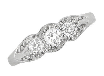 Art Deco Filigree Diamond 3 Stone Palladium Ring - Item: R890PDM - Image: 3