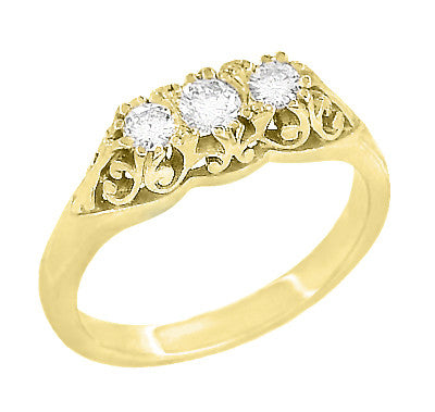 Art Deco Filigree Three Stone Diamond Ring In 14 Karat