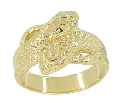 Vintage Inspired Men's Double Serpent Snake Ring with Diamond Eyes in 14 Karat Yellow Gold - Item: R897 - Image: 1
