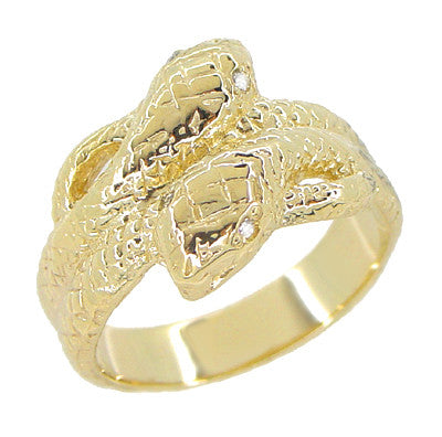 Vintage Inspired Men's Double Serpent Snake Ring with Diamond Eyes in 14 Karat Yellow Gold