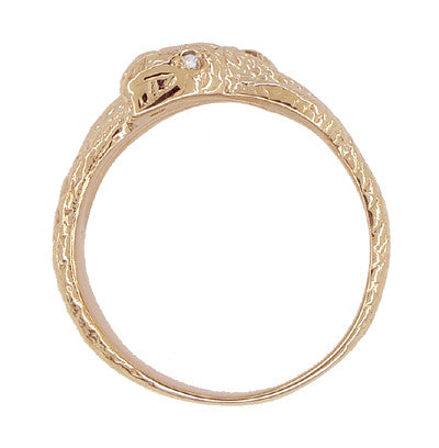Men's Double Serpent Snake Ring with Diamond Eyes in 14 Karat Rose Gold - Item: R897R - Image: 3
