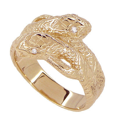 Men's Double Serpent Snake Ring with Diamond Eyes in 14 Karat Rose Gold