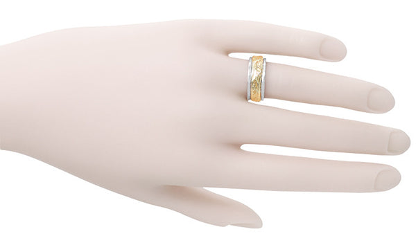 Art Nouveau Vintage Wedding Band in 14 Karat Two Tone Gold - Item: R898 - Image: 1