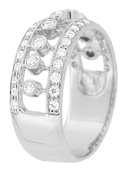 Galaxy of Diamonds Wide Anniversary Band in 18 Karat White Gold | Vintage Mid Century Design - Item: R900 - Image: 2