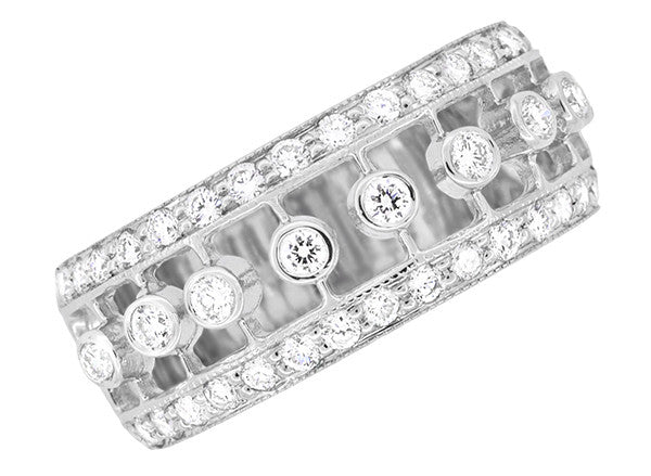 Galaxy of Diamonds Wide Anniversary Band in 18 Karat White Gold | Vintage Mid Century Design - Item: R900 - Image: 3