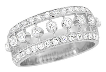 Galaxy of Diamonds Wide Anniversary Band in 18 Karat White Gold | Vintage Mid Century Design