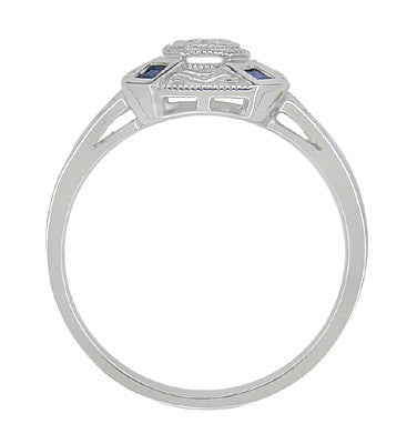 Art Deco Square Sapphires and Diamond Engraved Ring in 14 Karat White Gold - Item: R908 - Image: 2