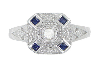 Art Deco Square Sapphires and Diamond Engraved Ring in 14 Karat White Gold - Item: R908 - Image: 1