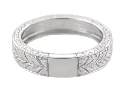 Men's Art Deco 5mm Wide Engraved Wheat Wedding Band Ring in 18 Karat White Gold - Item: R909 - Image: 2