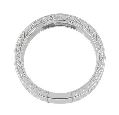 Men's Art Deco 5mm Wide Engraved Wheat Wedding Band Ring in 18 Karat White Gold - Item: R909 - Image: 1