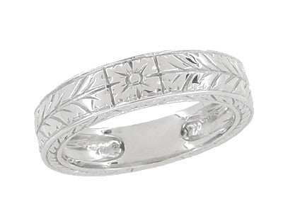 Men's 5mm Wide Engraved Wheat Art Deco Platinum Wedding Band Ring