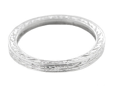 Antique Style Art Deco Engraved 2mm Wide Wheat Wedding Band Ring in 18 Karat White Gold - Item: R910 - Image: 1