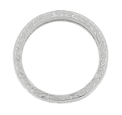 Art Deco Wedding Ring - Platinum with Wheat Engraving - Item: R910P - Image: 2
