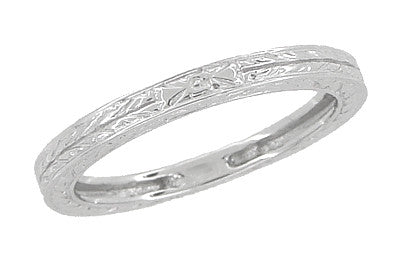 Art Deco Wedding Ring - Platinum with Wheat Engraving
