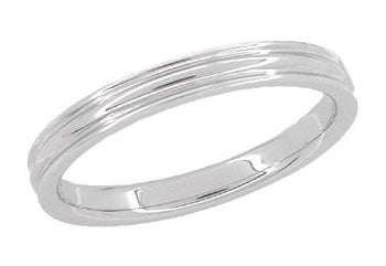 1950's Retro Moderne 4mm Double Grooved Wedding Band Ring in 14 Karat White Gold