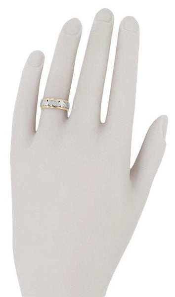 Retro Wide Vintage Wedding Band in 14 Karat White and Yellow Gold - Size 4.75 - Item: R919 - Image: 2