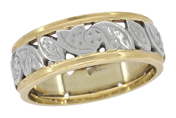 Retro Wide Vintage Wedding Band in 14 Karat White and Yellow Gold - Size 4.75
