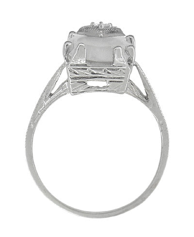 Art Deco Sunburst Crystal and Diamond Ring in 18 Karat White Gold - Item: R920 - Image: 2
