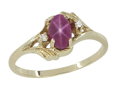 Star Ruby and Diamonds Twist Estate Ring in 10 Karat Gold