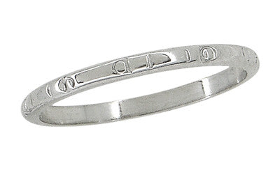Beads and Bars Art Deco Vintage Wedding Band in 18 Karat White Gold