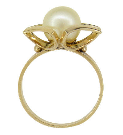 Mid Century Vintage Buttercup Frame Pearl Solitaire Ring in 18 Karat Yellow Gold - Item: R924 - Image: 1