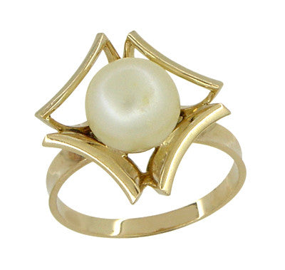 Mid Century Vintage Buttercup Frame Pearl Solitaire Ring in 18 Karat Yellow Gold