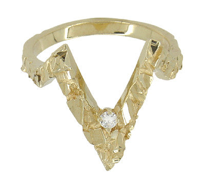 "Plunging ""V"" Diamond Nugget Estate Ring in 14 Karat Gold"