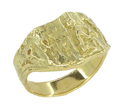 Bas-Relief Greek Scene Triangle Cigar Band in 18 Karat Yellow Gold - Item: R927 - Image: 2