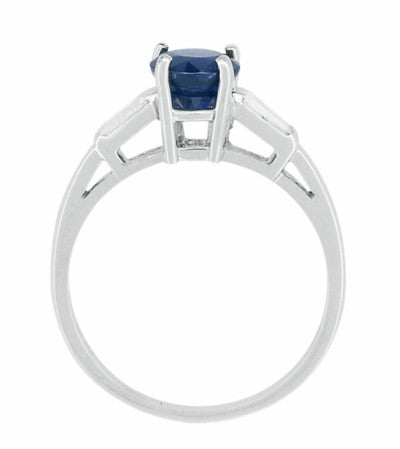 Antique Mid Century Blue Sapphire and Diamond Baguettes Engagement Ring in Platinum - Item: R950P - Image: 2