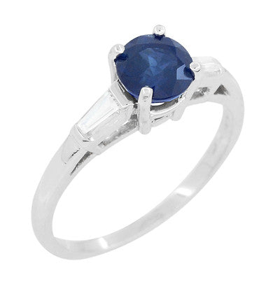 Antique Mid Century Blue Sapphire and Diamond Baguettes Engagement Ring in Platinum - Item: R950P - Image: 1