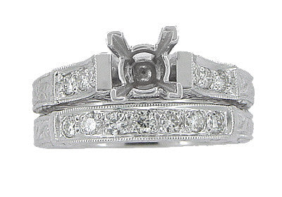 Art Deco Scrolls 1.25 Carat Princess Cut Diamond Engagement Ring Setting and Wedding Ring in 18 Karat White Gold - Item: R952 - Image: 3